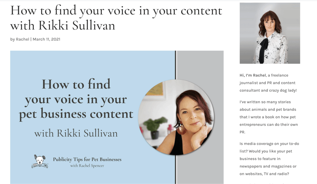 how to find your voice with content writer Rikki Sullivan The Canine Copywriter